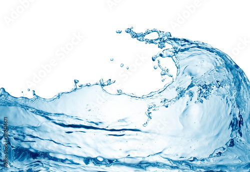 Valokuvatapetti blue water wave isolated on white background