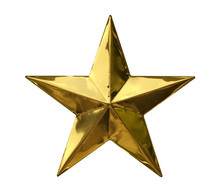 Golden Star Christmas Decoration (with Clipping Path) Isolated On White Background