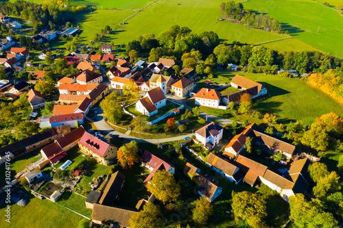 Aerial view of Czech village Cakov Canvas Print