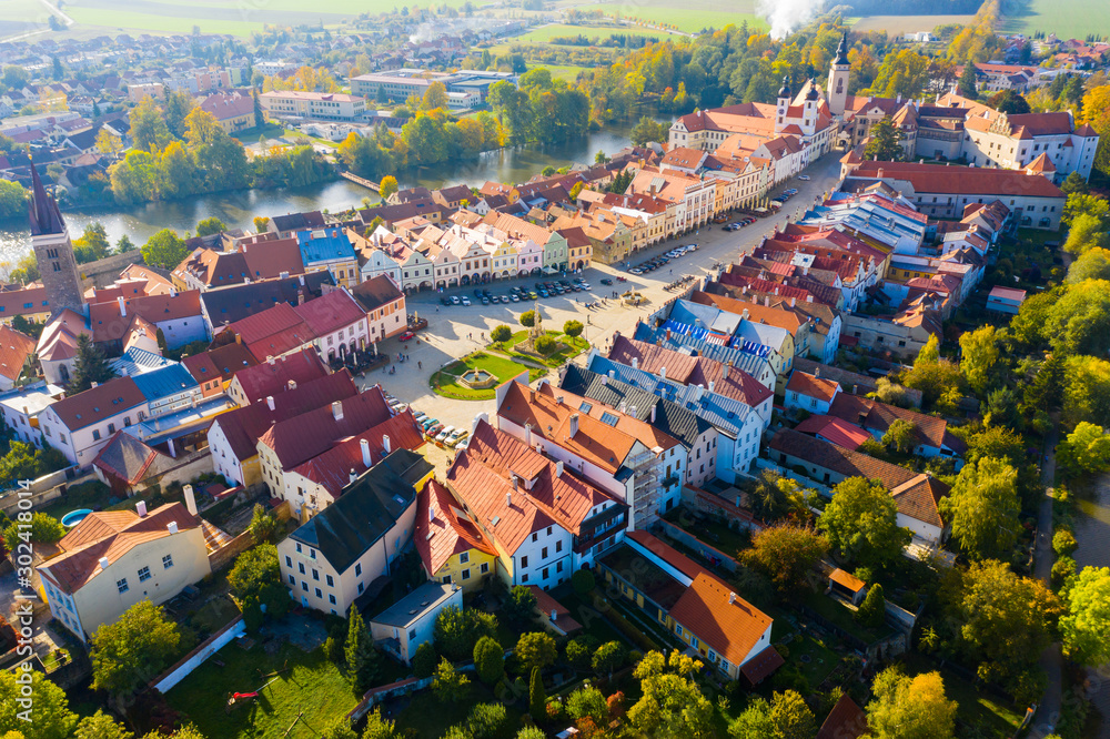 Fototapety, obrazy: Aerial view of Czech town of Telc