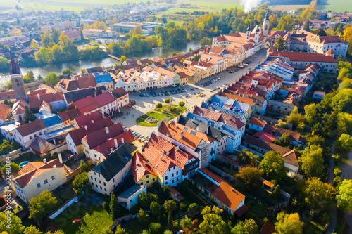 Aerial view of Czech town of Telc Canvas Print