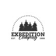 Camping Concept Logo Design Template with Badges, Black and White