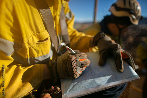 Canvas Print Construction workers wearing a industry safety glove signing of high risk workin