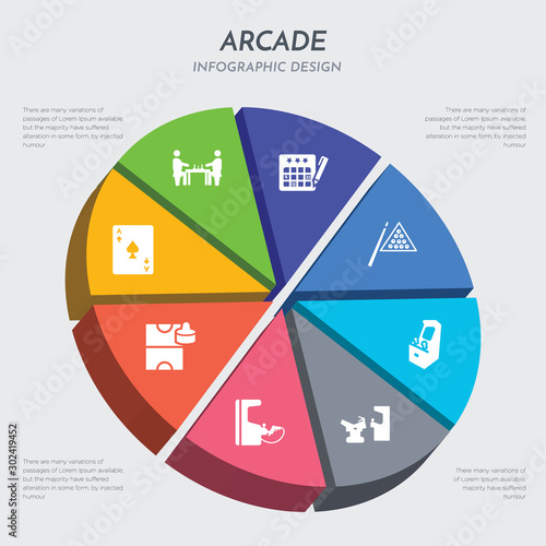 Fotografía  arcade concept 3d chart infographics design included ace of spades, air hockey,