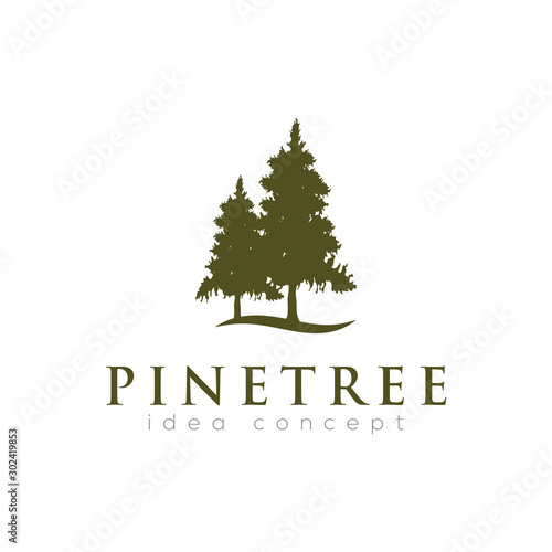 Pines Tree Logo Design Template