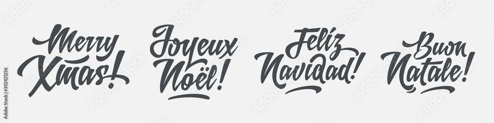 Fototapeta Vector Merry Christmas card logo template set with greetings in spanish, english, french and italian languages. Buon natale. Feliz navidad. Joyeux noel. Merry xmas.