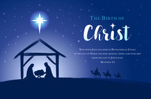Christmas Scene Of Baby Jesus In The Manger With Mary And Joseph In Silhouette, Bethlehem Star And Three Kings On Camels. Christian Nativity And Text Matthew 2, 1, The Birth Of Christ Vector Banner