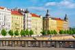 Leinwanddruck Bild Masarykova embankment architecture, Prague, Czech Republic