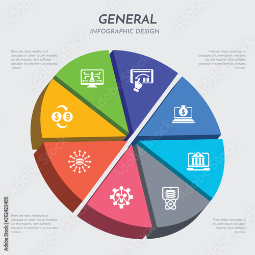 general concept 3d chart infographics design included crypto-exchange, data aggr Wallpaper Mural
