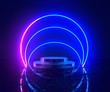 canvas print picture - 3d rendering, neon light, glowing lines, ultraviolet, stage, portal, circle portal, pedestal, virtual reality, abstract background, red blue spectrum, vibrant colors, laser show.