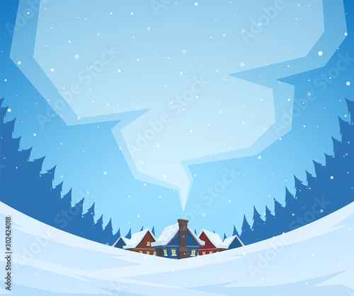 Fotografiet Winter christmas landscape with cartoon village in pine forest and smoke from the chimney