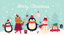 Vector Christmas Banner With Funny Characters Bear, Snowman, Penguin