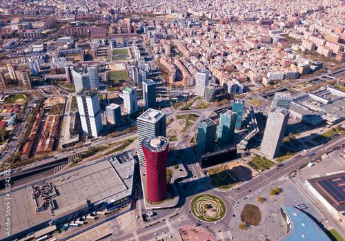 Aerial view of Gran Via, Plaza de Europa, convention center of Fira de Barcelona Wallpaper Mural
