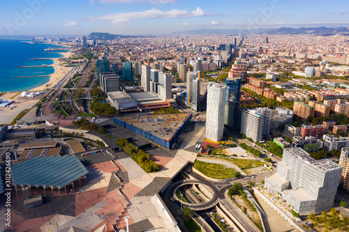 Fotomural  Barcelona, Spain - October 4, 2019: Panoramic view from the drone of residential area Diagonal Mar