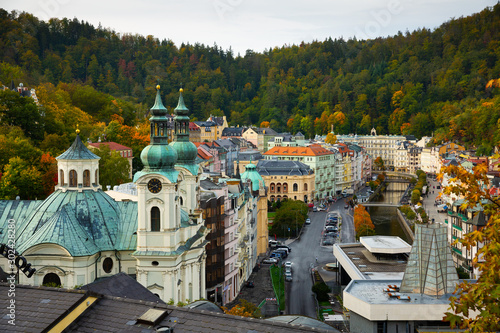Fotografie, Obraz  Karlovy Vary, Czech Republic - October 11, 2019: View of Karlovy Vary in Bohemia