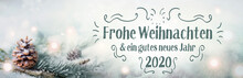 Christmas Greetings  2019  2020  -  German Language  -  Merry Christmas And Happy New Year -  Xmas Congratulations Card  -  Fir Branch In Snow Landscape With Magic Lights