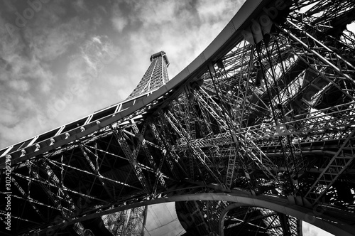 The Eiffel Tower in Paris in black and white