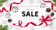 Winter Sale Design Template. Christmas Background With New Year Holiday Decorations. Flat Lay. Top View. Vector Illustration.