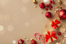 Christmas Composition. Gift Boxes, Holiday Decorations On Golden Background Top View. Flat Lay.