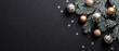 canvas print picture - Christmas banner. Christmas tree branch decorated cooper and silver color balls on black background with confetti. Wide Xmas banner mockup, header, flyer