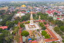 Aerial View Shot Of Wat Phra That Phanom In That Phanom District At Nakhon Phanom Province - Thailand.