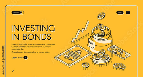 Fototapeta Investing in bonds isometric landing page, dollar coins fall to jar with investment documents and charts around, invest fund increase money finance business 3d vector illustration, line art web banner obraz