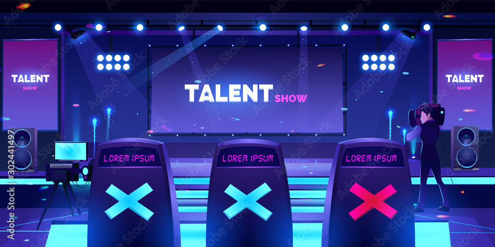 Fototapeta Talent show stage with jury chairs rear view, empty scene with neon spotlights illumination, huge screen and video operator with camera for recording television competition Cartoon vector illustration