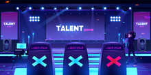 Talent Show Stage With Jury Ch...