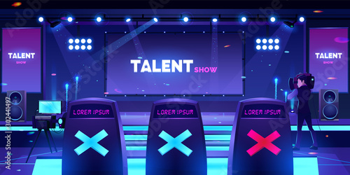 Photo  Talent show stage with jury chairs rear view, empty scene with neon spotlights i