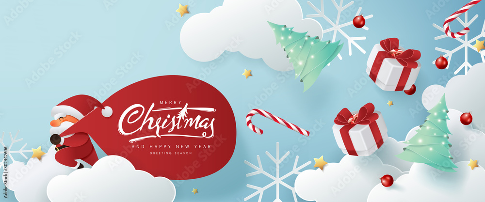 Fototapeta Santa Claus with a huge bag on the run to delivery christmas gifts on white cloud background.Merry Christmas text Calligraphic Lettering Vector illustration.