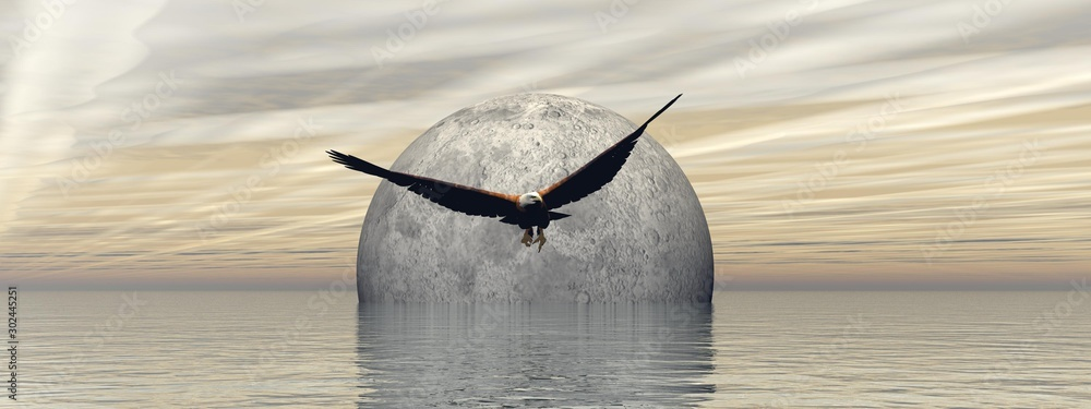 Fototapety, obrazy: flying an eagle with a beautiful full moon landscape - 3d rendering