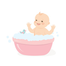 Happy Baby Taking A Bath Playing With Foam Bubbles.Infant Baby Bath Time Template.
