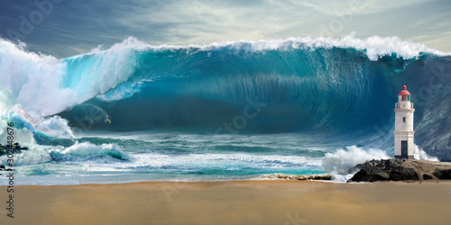 Tsunami big wave Canvas Print