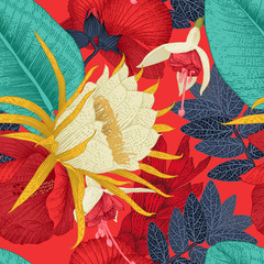Seamless floral pattern with tropical flowers on red background. Template des...