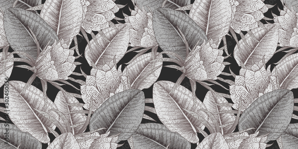 Fototapeta Seamless floral pattern with tropical flowers on dark background. Template design for textiles, interior, clothes, wallpaper. Vector illustration.  Botanical art.  Engraving style
