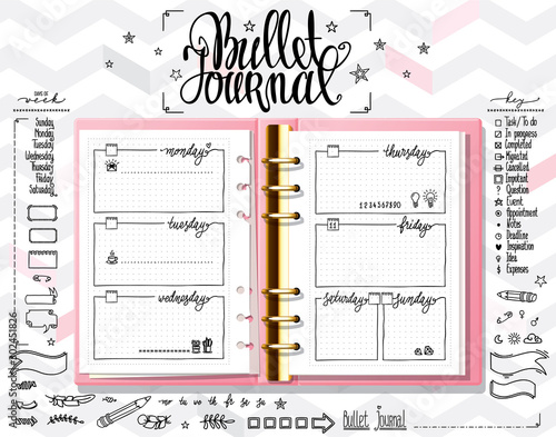Obraz Week organizer. Opened notebook on light white texture. Line doodles set on mock up. Days of week calligraphy and bullet journal elements set. - fototapety do salonu