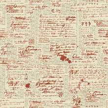 Vector Seamless Pattern, Abstract Background With Unreadable Scribbles Imitating Handwritten Text On The Old Newspaper Page With Blots And Spots. Suitable For Wallpaper, Wrapping Paper Or Fabric
