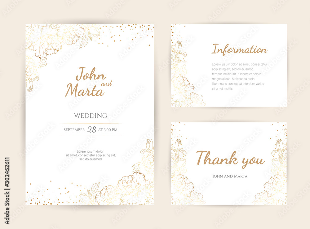 Fototapety, obrazy: Wedding Invitation with Gold Flowers. background with geometric golden frame. Cover design with an ornament of golden leaves.Trendy templates for banner, flyer, poster, greeting. eps10