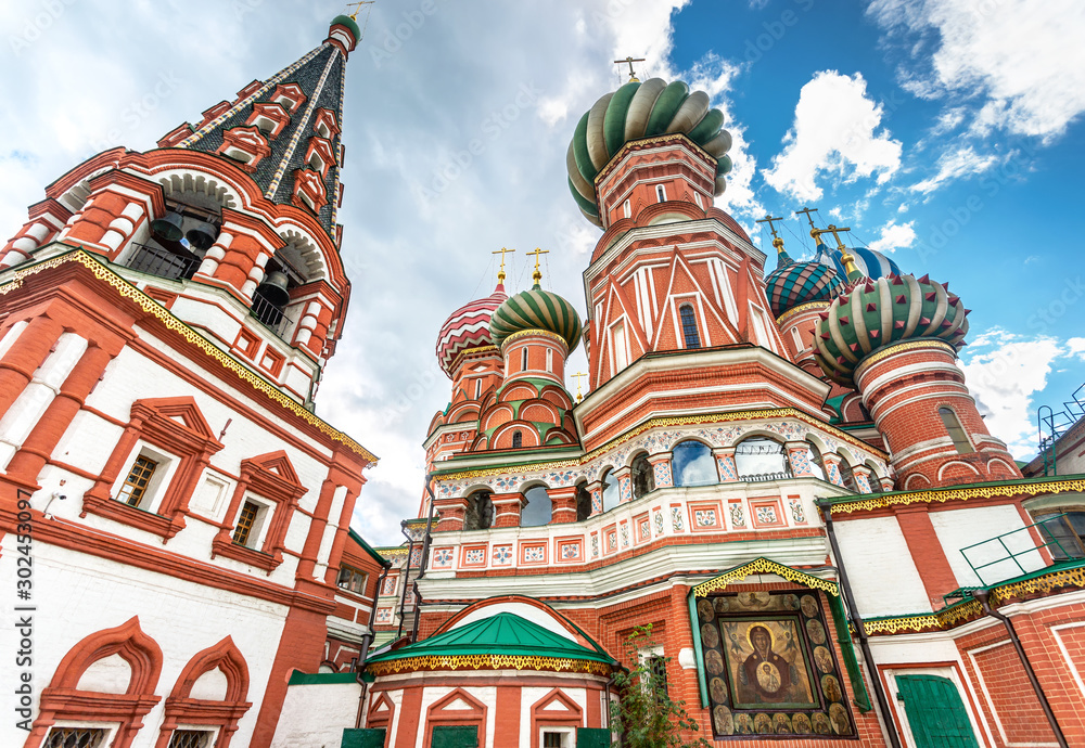 Fototapety, obrazy: Domes of Saint Basil's (Pokrovsky) Cathedral on Red Square in Moscow, Russia