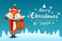 Christmas Illustration With Fox Character