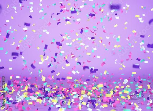 Fototapeta Colorful confetti falling on purple background obraz na płótnie
