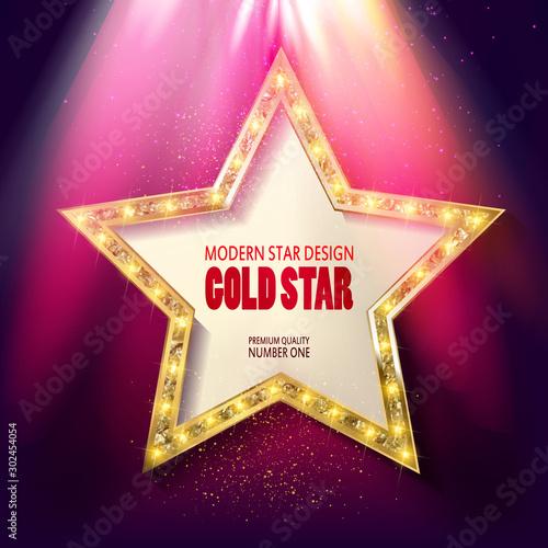 Obraz na plátně  Golden star in the rays of bright light.