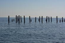 Alanya, Turkey, Broken Pier Columns Of Different Sizes In The Mediterranean Ocean Late Afternoon In Autumn
