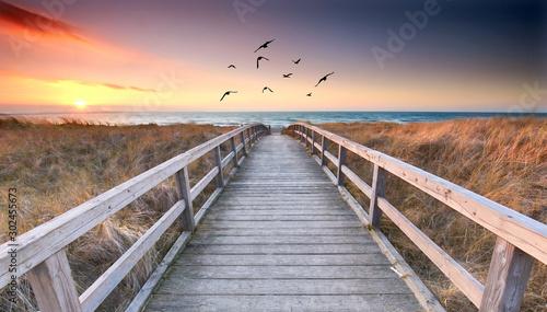 fototapeta na szkło romantischer Weg zum Strand