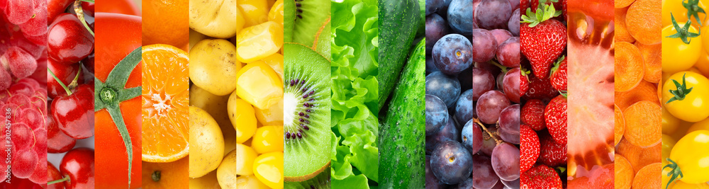 Fototapeta Background of fruits, vegetables and berries. Fresh food