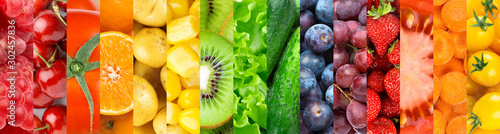Background of fruits, vegetables and berries. Fresh food - 302457836