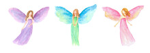 Christmas Fairy Angel Set Watercolor Painting Hand Drawn On Isolated White Background Element Or Clip Art