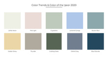Color Trends And Color Of The Year 2020 Fresh Palette. Colors In The Set: First Light Color, White Heron, Crystalline, Windmill Wings, Buxton Blue, Golden Straw, Thunder,Cushing Green Oxford Gray And