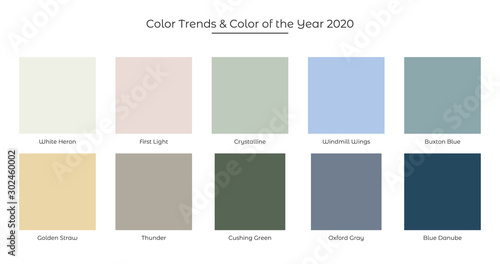 Obraz Color Trends and Color of the Year 2020 fresh palette. Colors in the set: First Light Color, White Heron, Crystalline, Windmill Wings, Buxton Blue, Golden Straw, Thunder,Cushing Green Oxford Gray and - fototapety do salonu