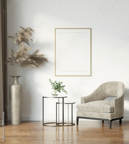 Modern interior with velvet armchair, frame and pampas grass